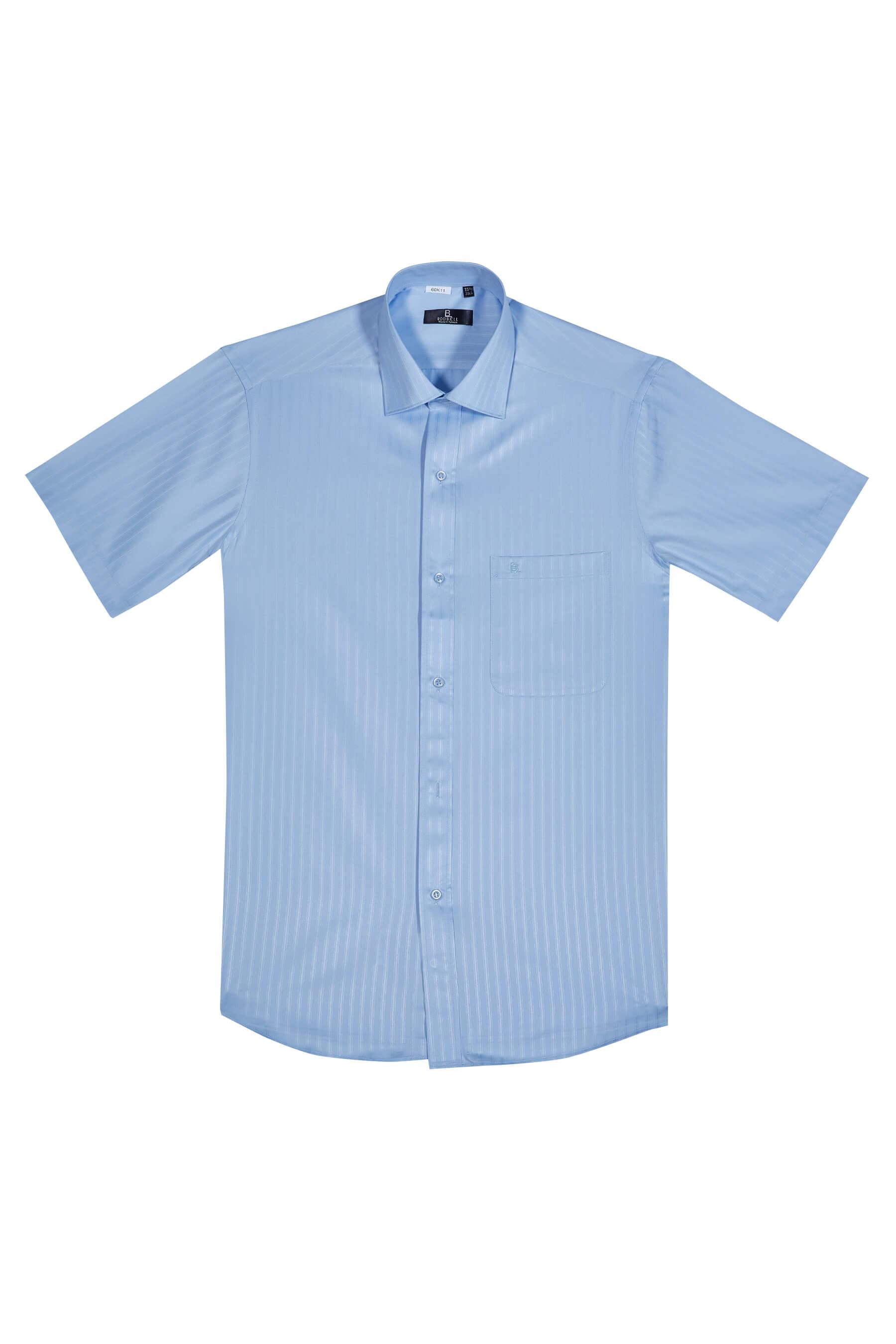 藍色緹花短袖襯衫/抗皺 吸濕排汗