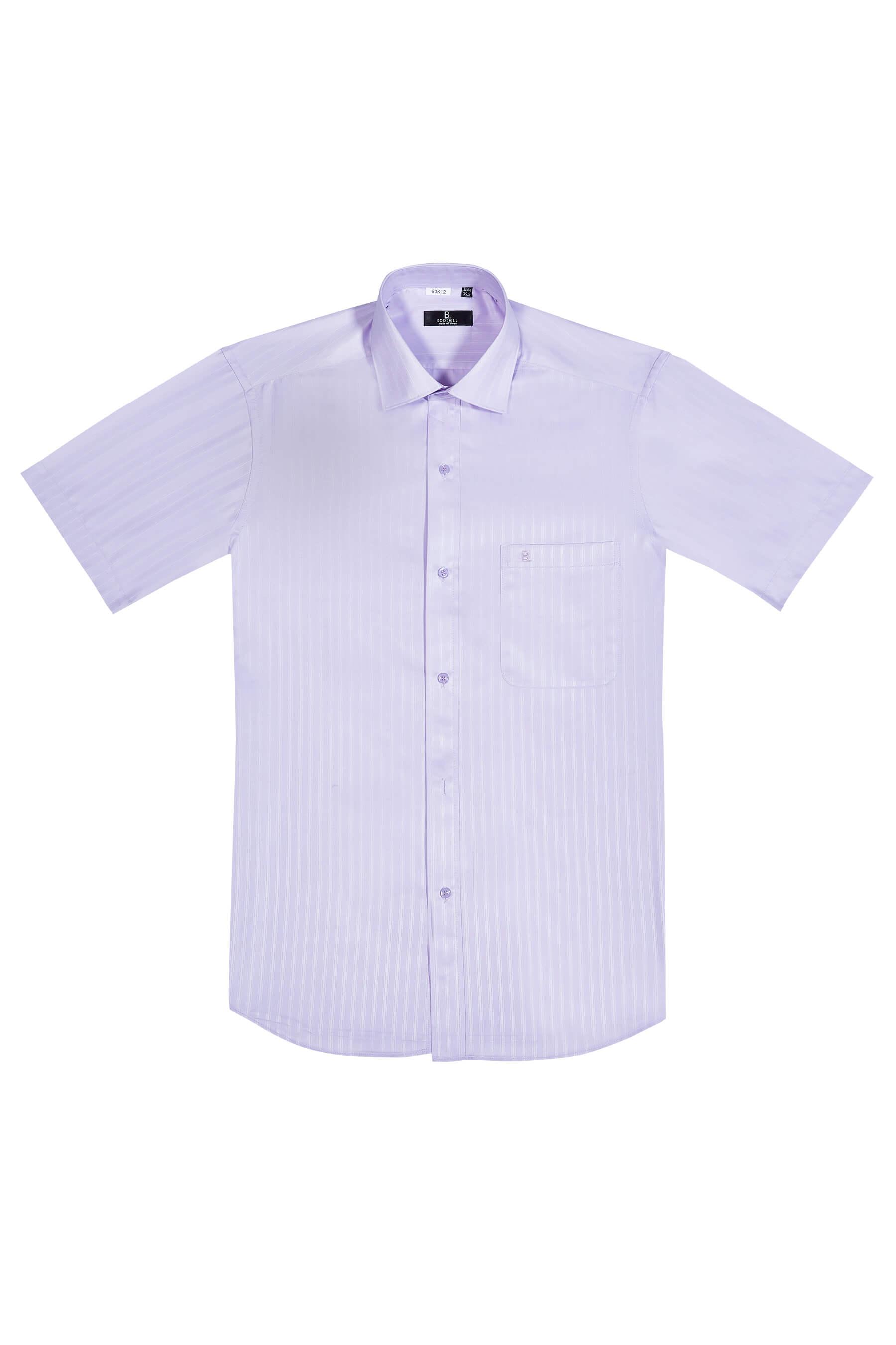 淺紫色緹花短袖襯衫/抗皺 吸濕排汗