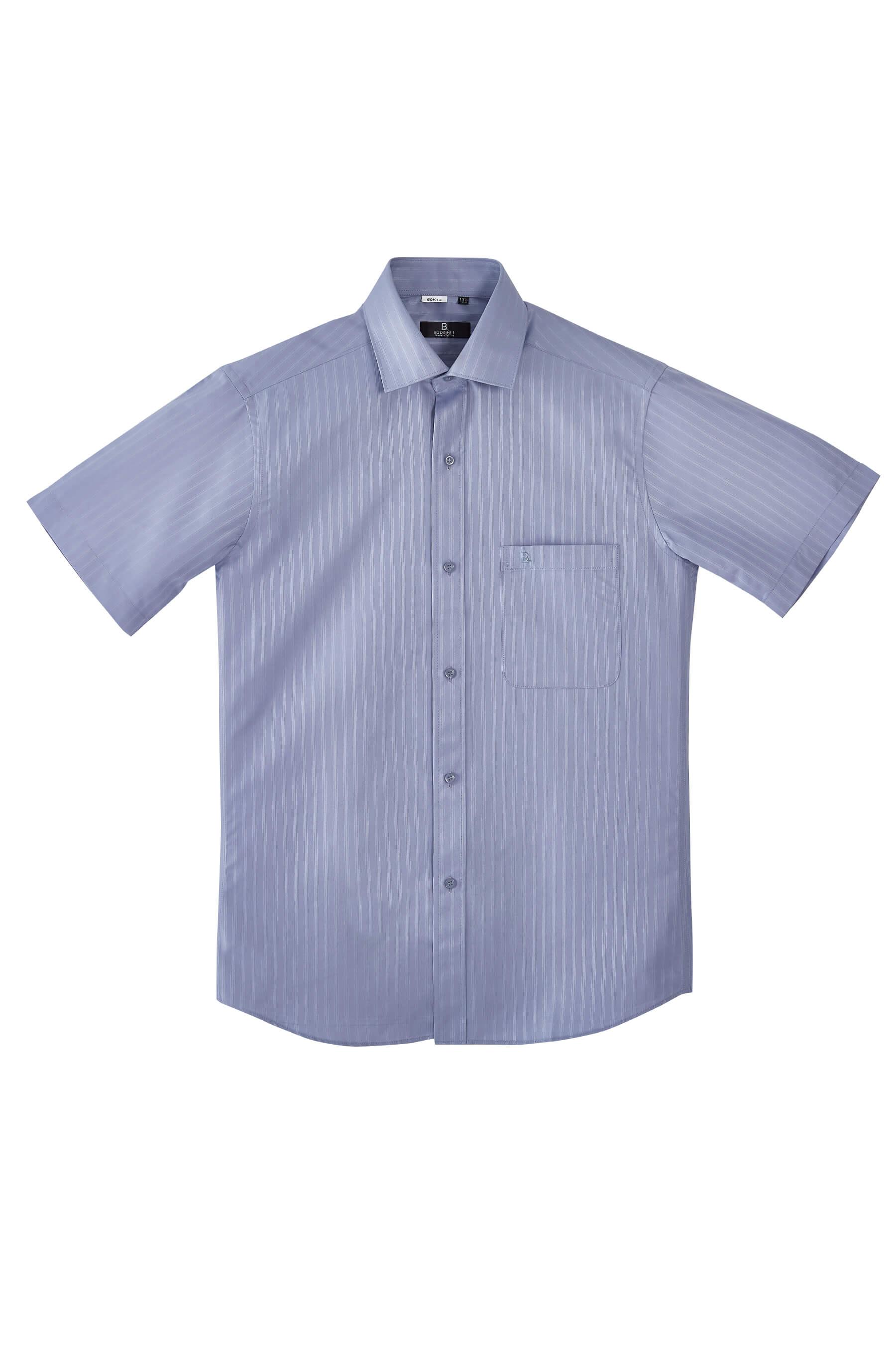 灰色緹花短袖襯衫/抗皺 吸濕排汗