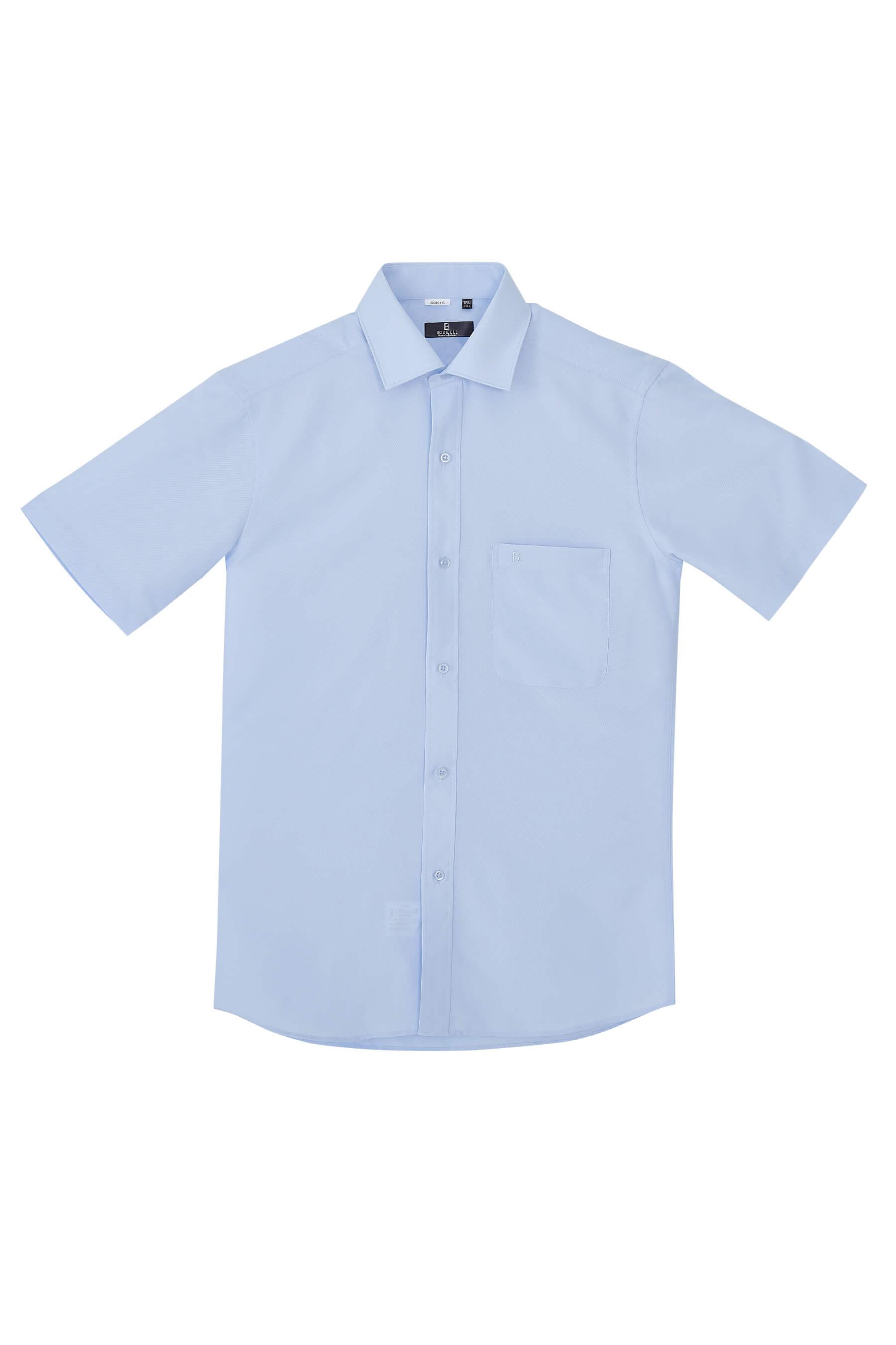 水藍色單斜紋短袖襯衫/抗皺 吸濕排汗