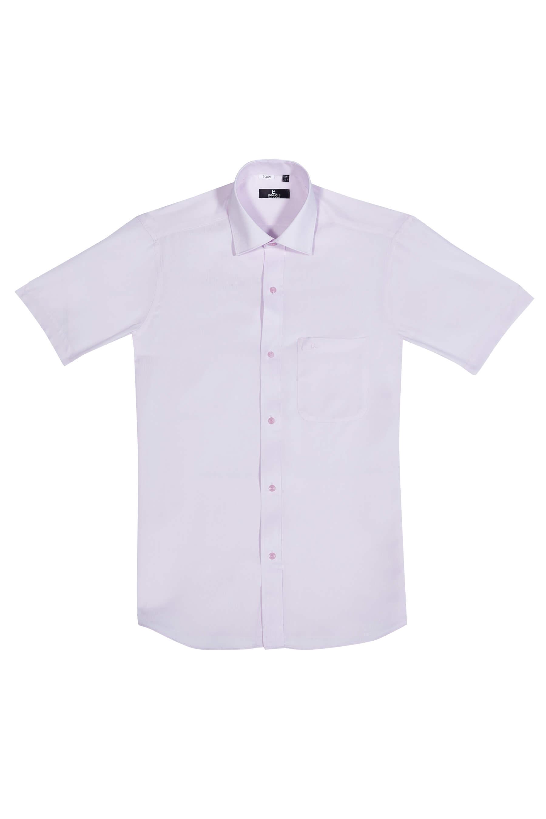 淡粉細條緹花短袖襯衫/抗皺 吸濕排汗