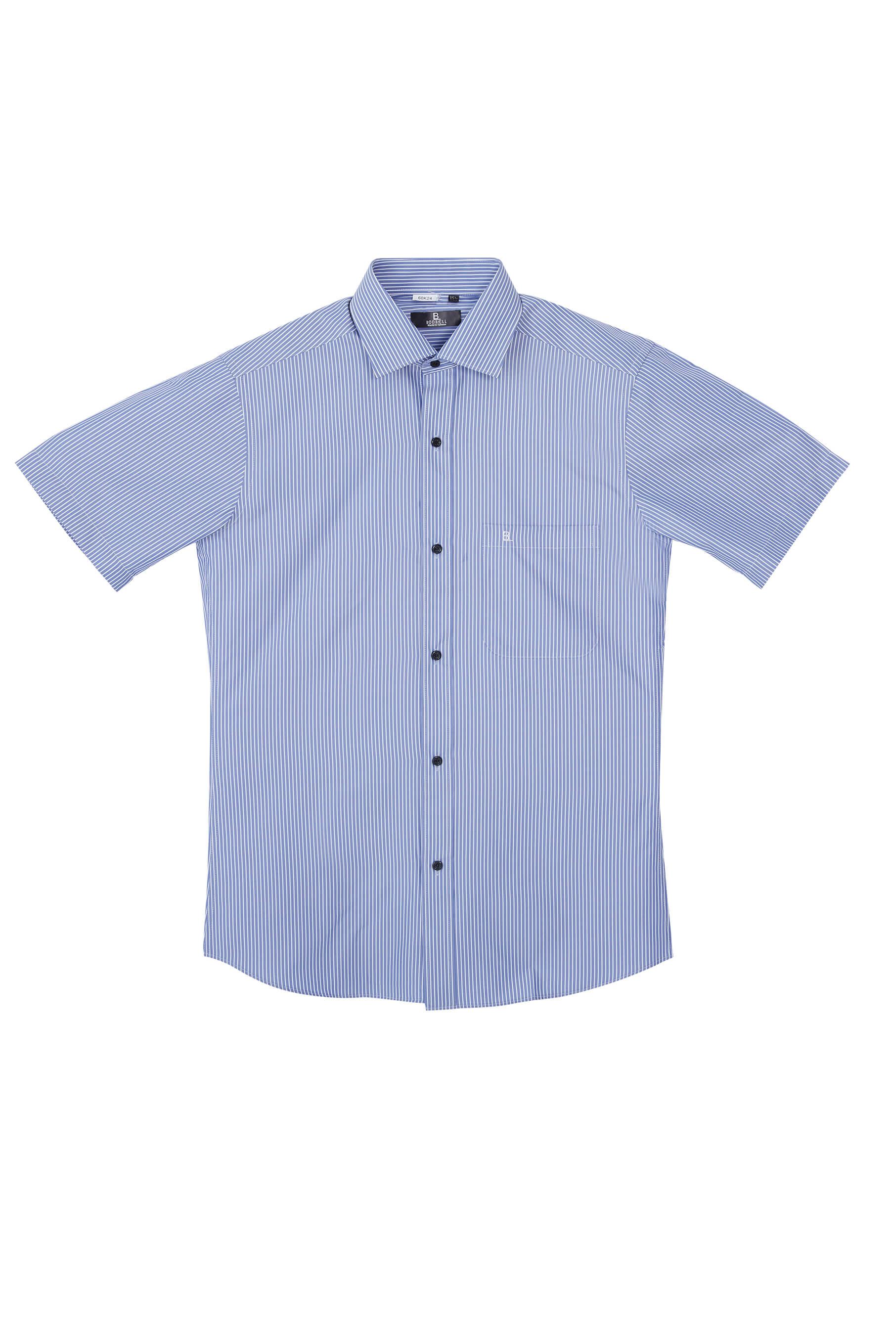 深藍白條紋短袖襯衫/抗皺 吸濕排汗