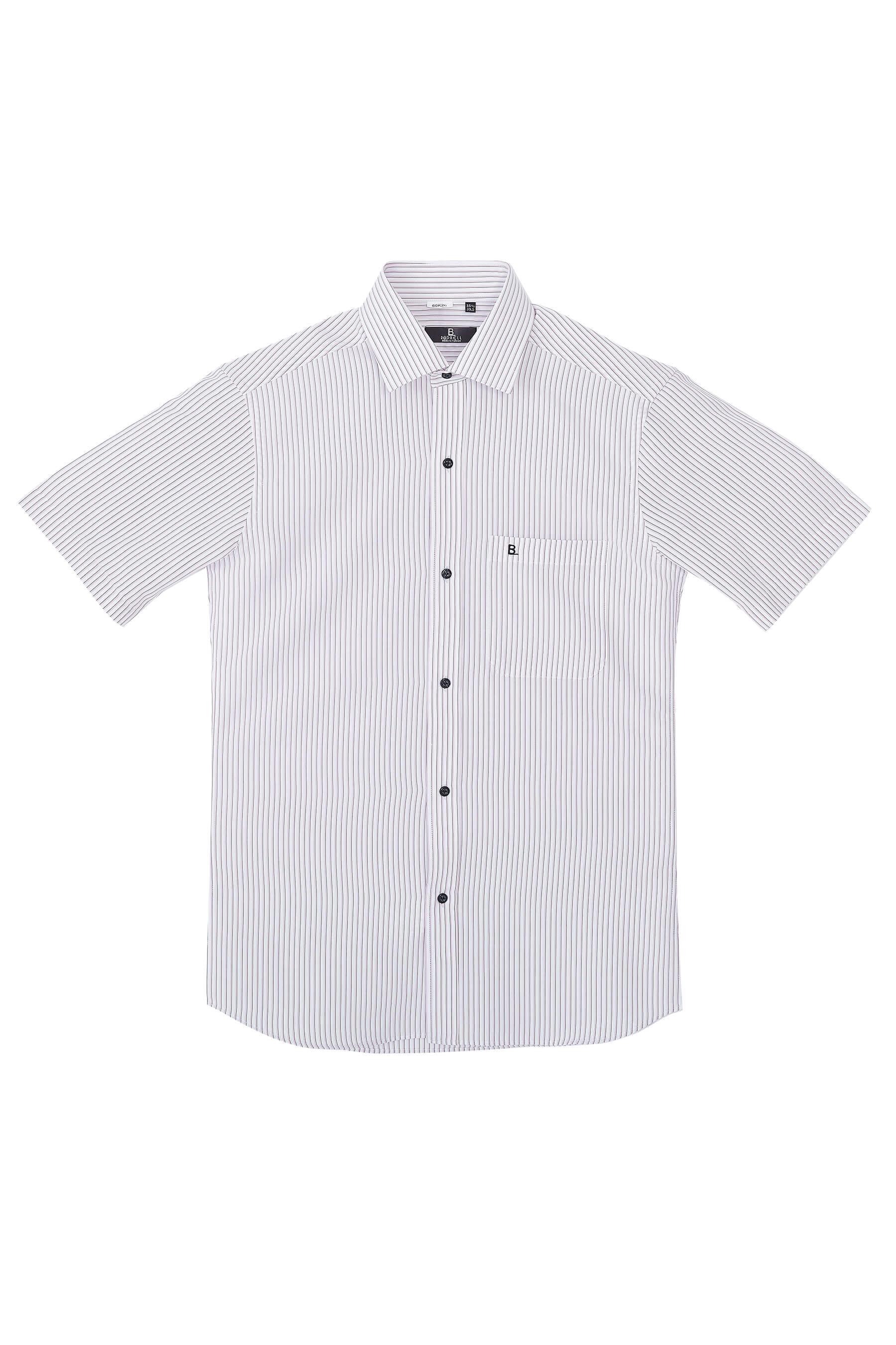 黑粉條紋短袖襯衫/抗皺 吸濕排汗