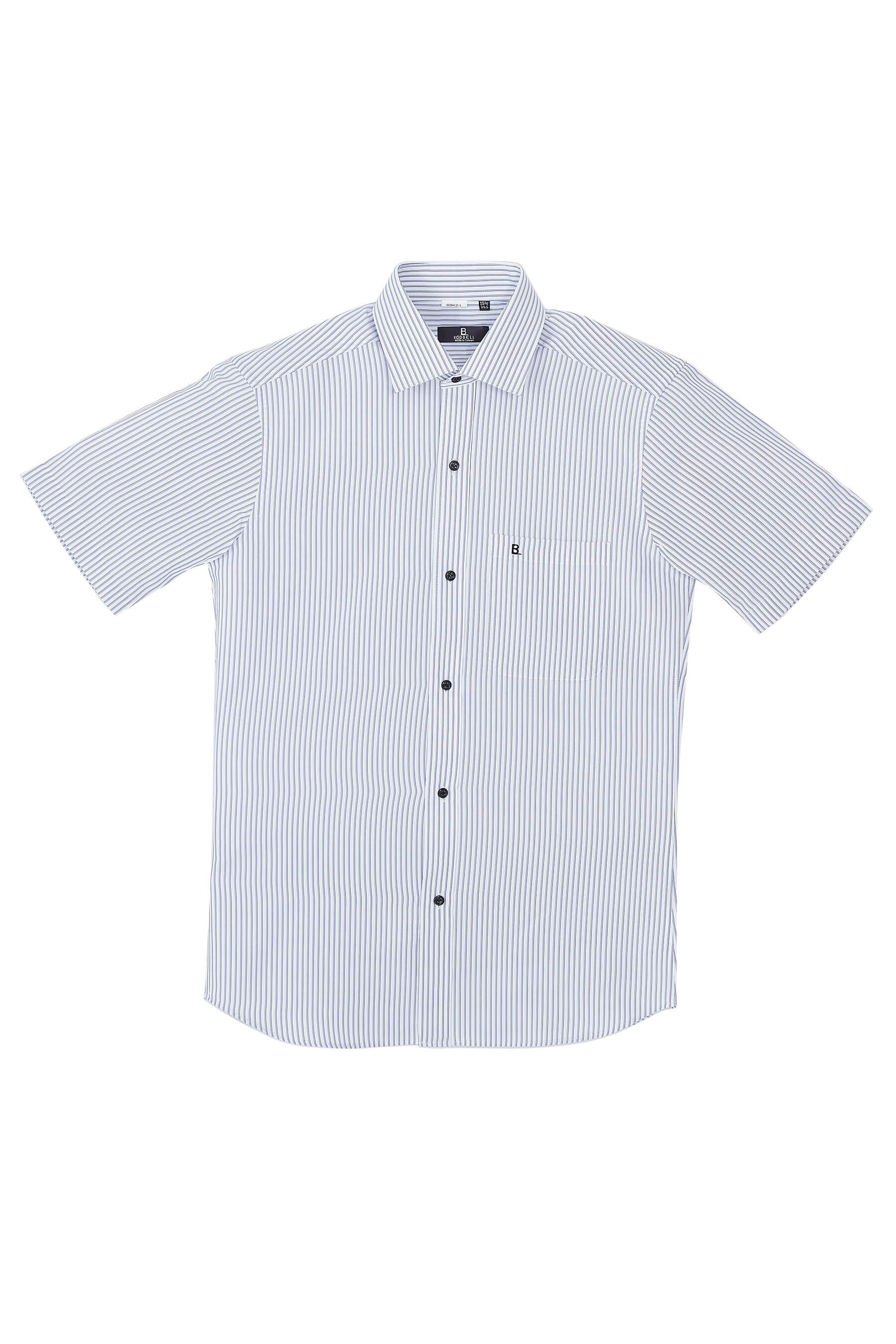 深藍條紋短袖襯衫/抗皺 吸濕排汗