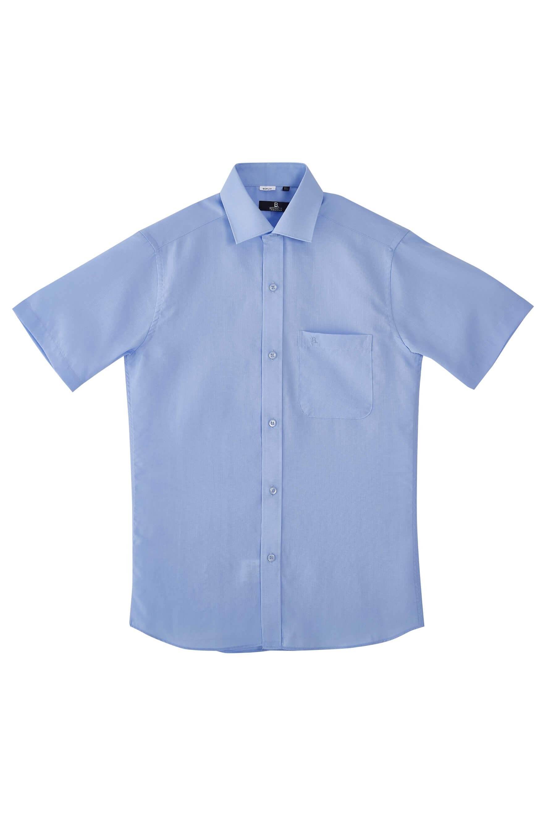 水藍色素面短袖襯衫/抗皺  舒適透氣