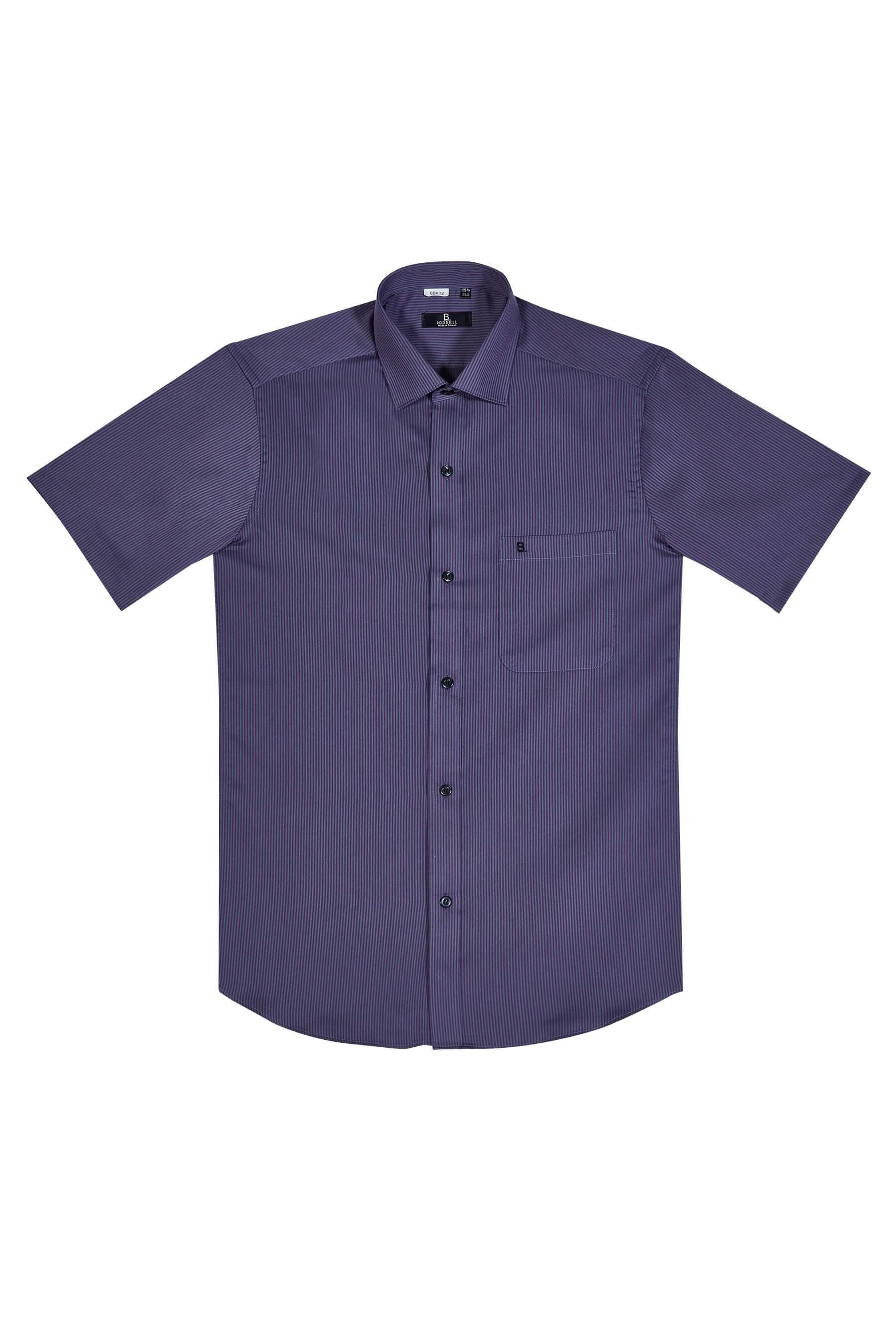 灰紫條紋棉質短袖襯衫/舒適透氣