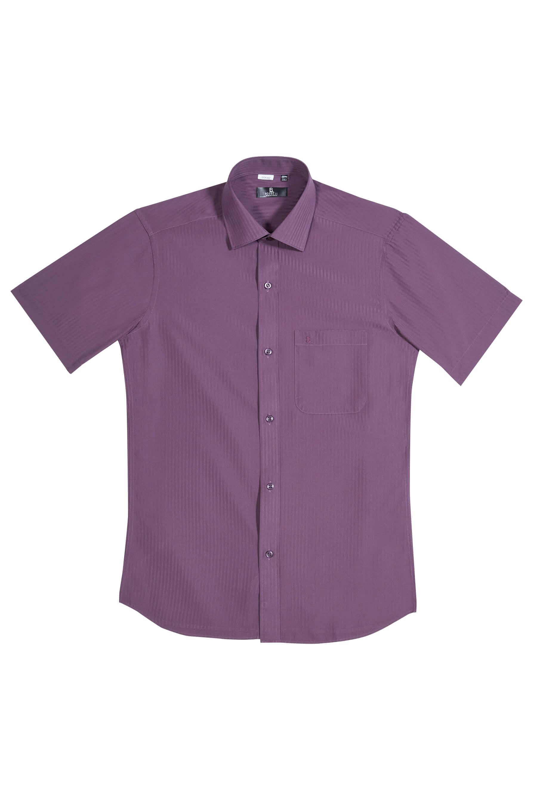 深紫緹花短袖襯衫/抗皺 吸濕排汗