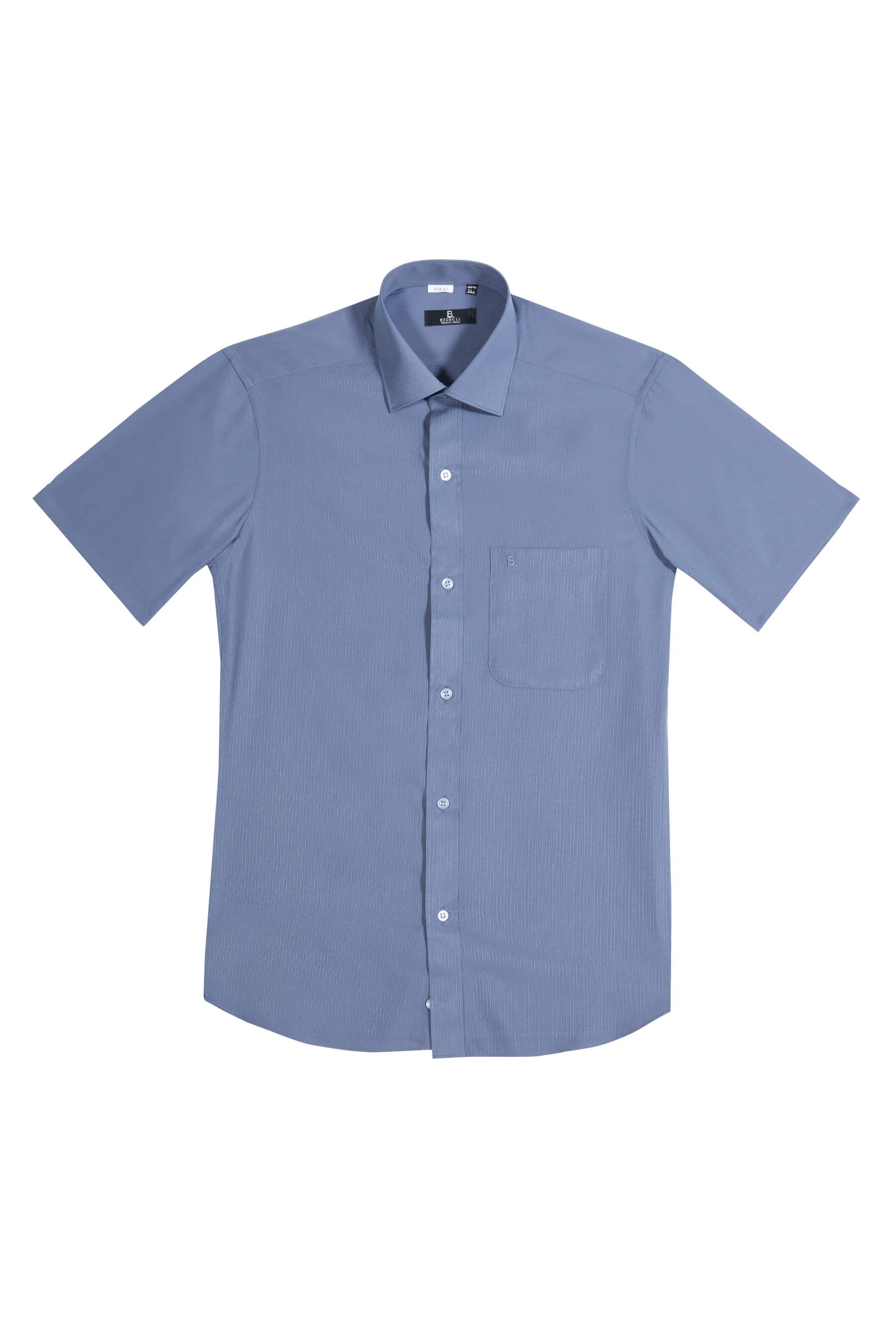 深灰緹花短袖襯衫/抗皺 吸濕排汗