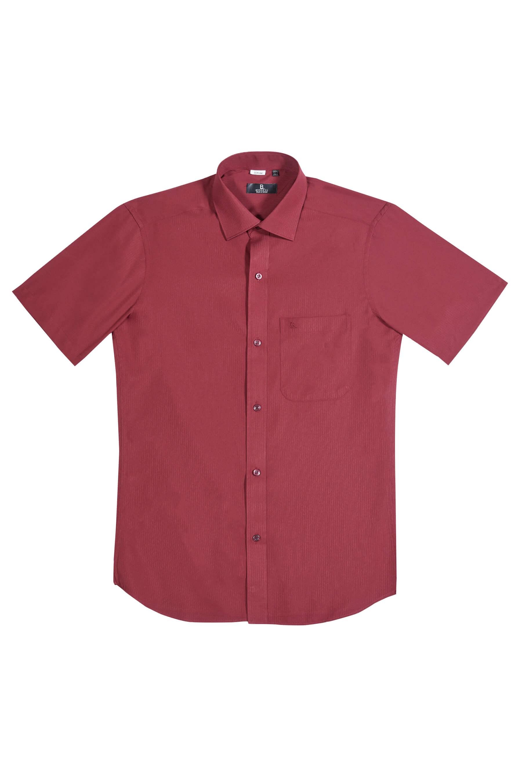 暗紅色緹花短袖襯衫/抗皺 吸濕排汗