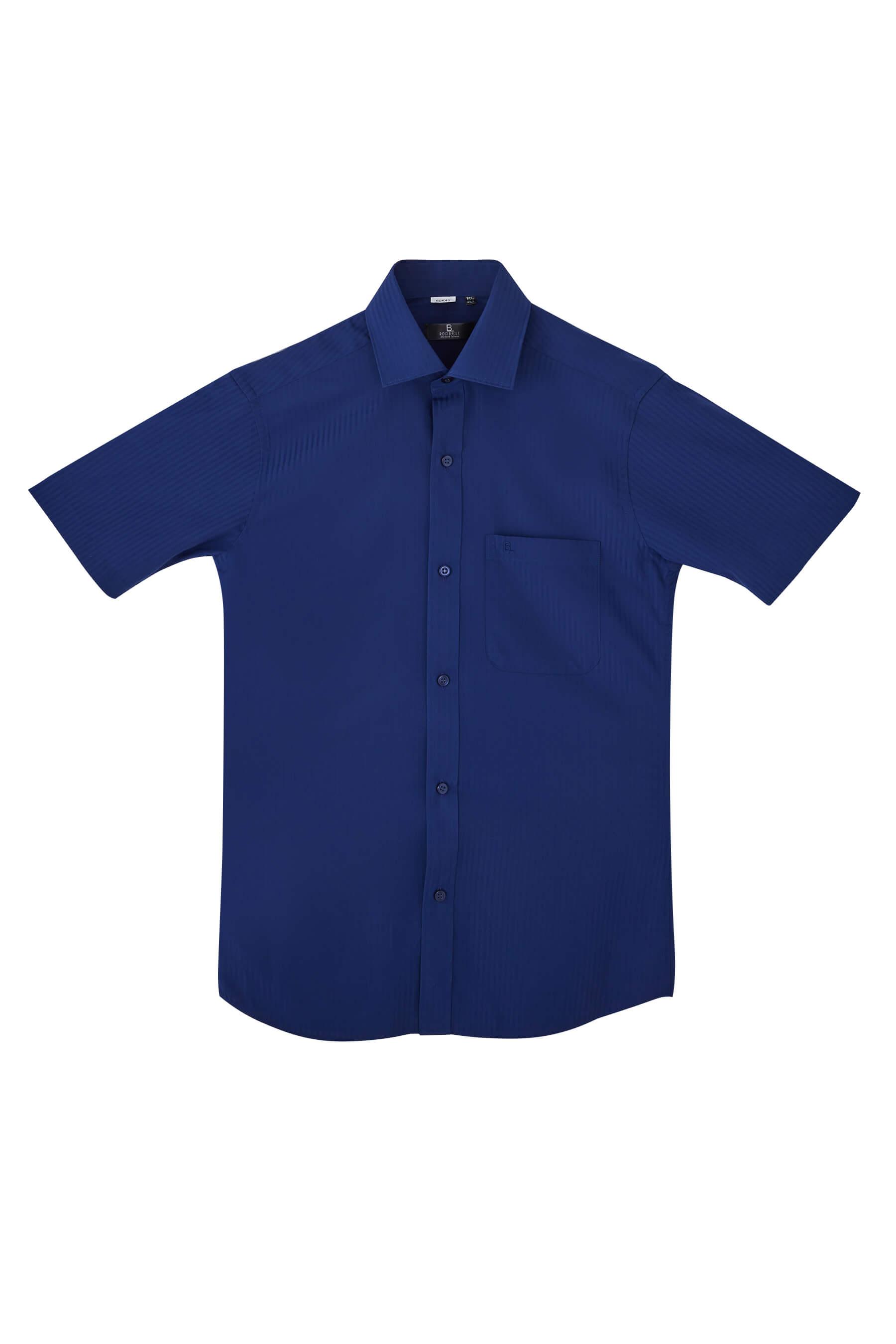 深藍色緹花短袖襯衫/抗皺 吸濕排汗