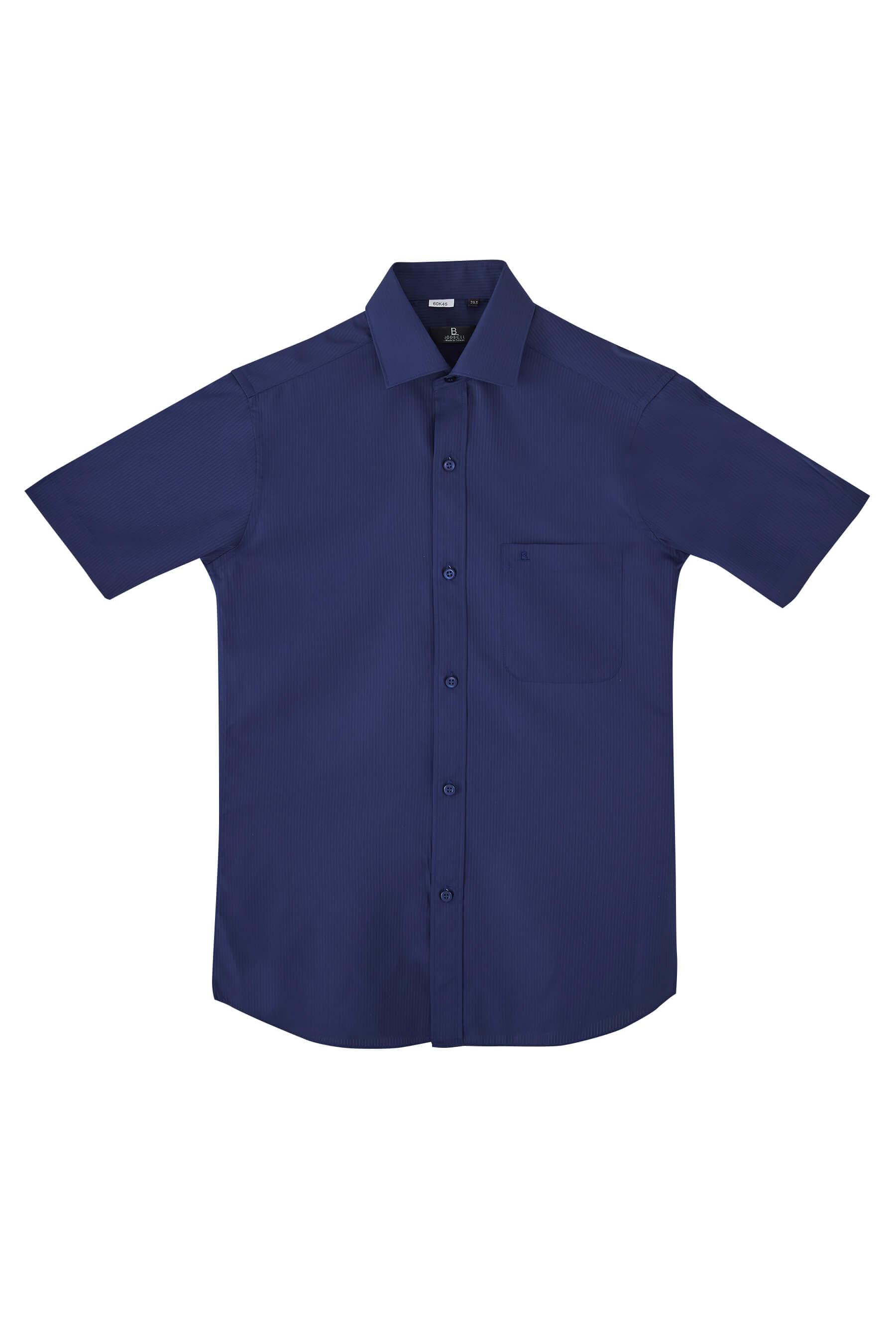 深藍抽紗短袖襯衫/抗皺 吸濕排汗