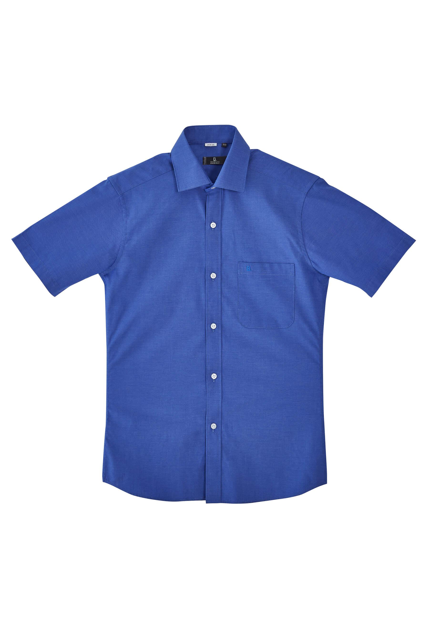 藍色素面棉質短袖襯衫/舒適透氣