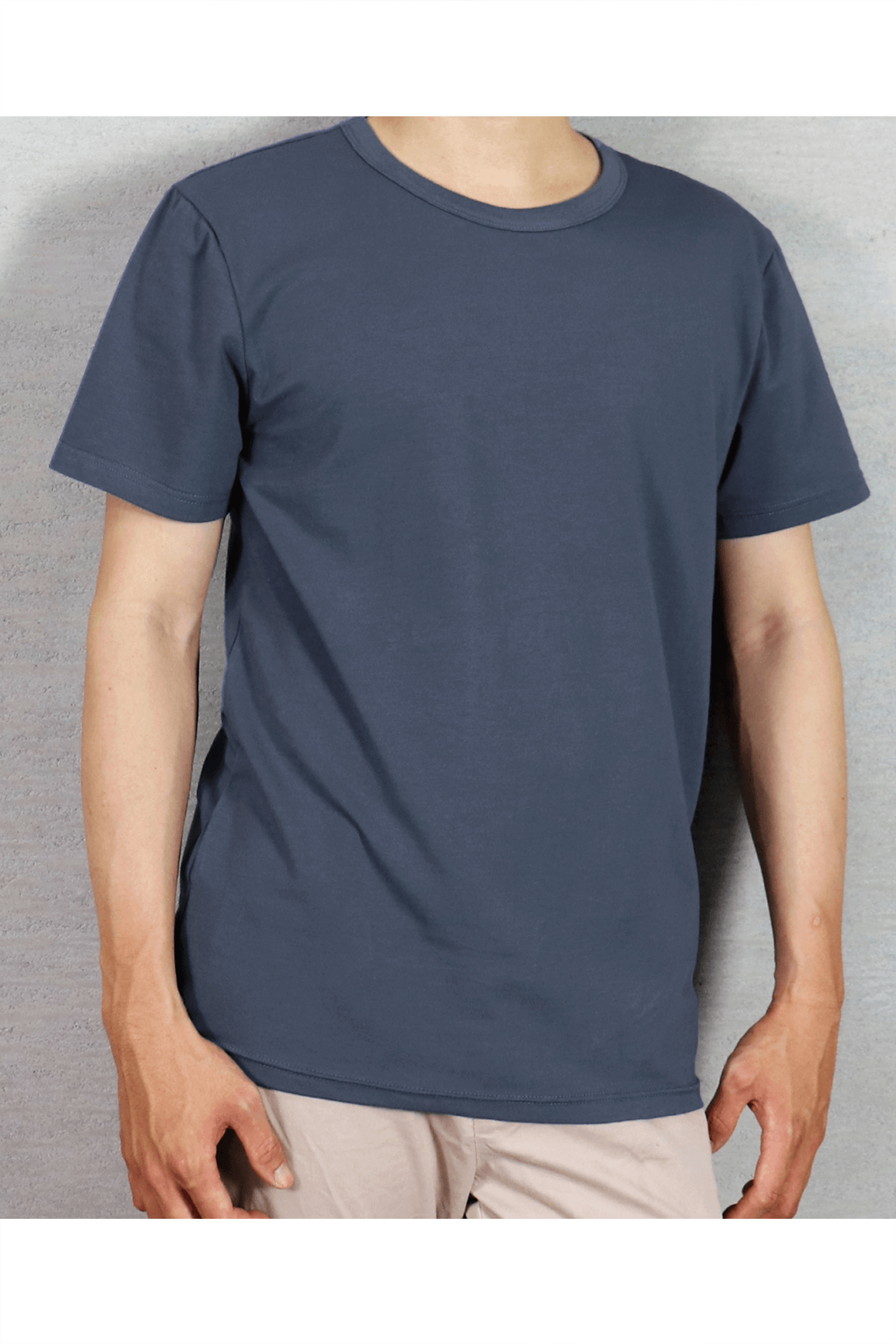 灰藍素面短T /  40支棉 舒適透氣
