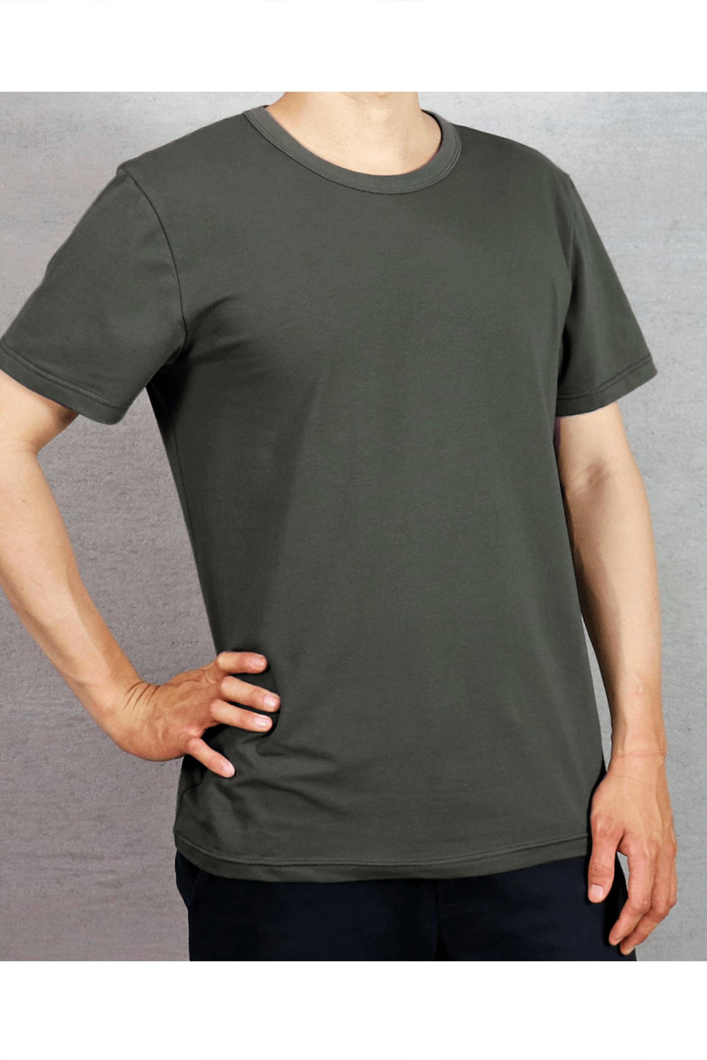 橄綠素面短T  / 40支棉 舒適透氣
