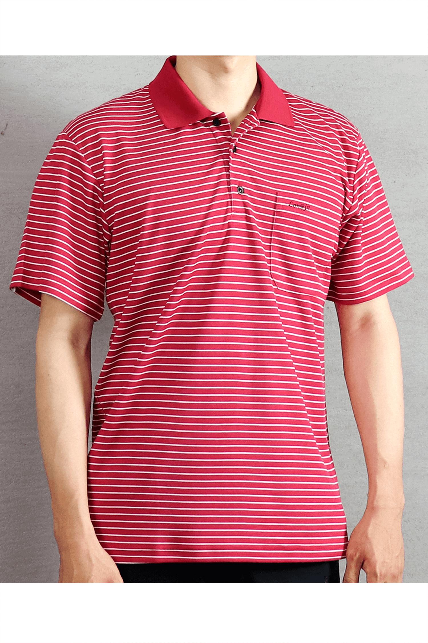 紅色條紋短袖POLO衫/吸濕排汗 速乾