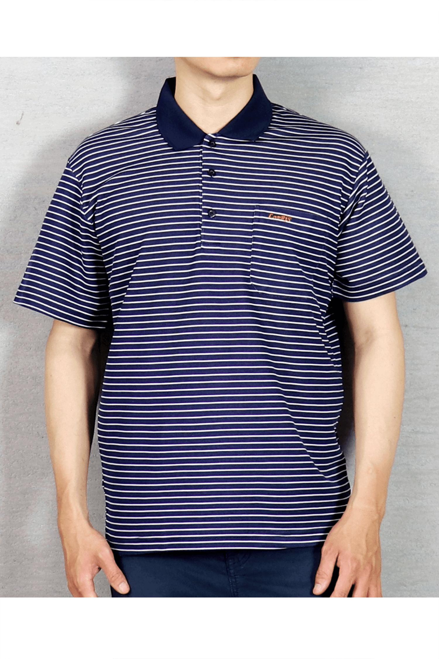 丈青條紋短袖POLO衫/吸濕排汗 速乾