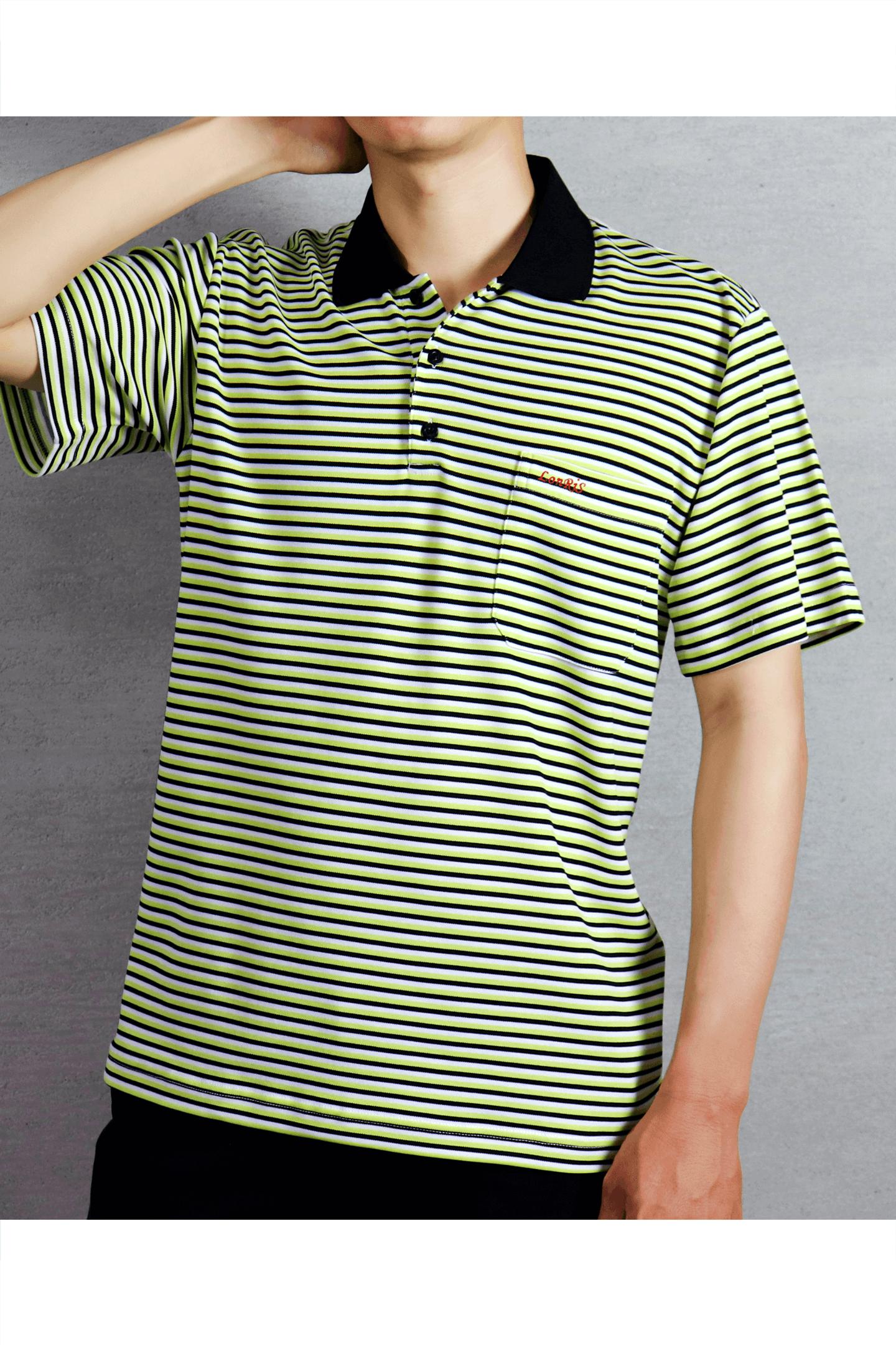 綠黑條紋短袖POLO衫/吸濕排汗 速乾