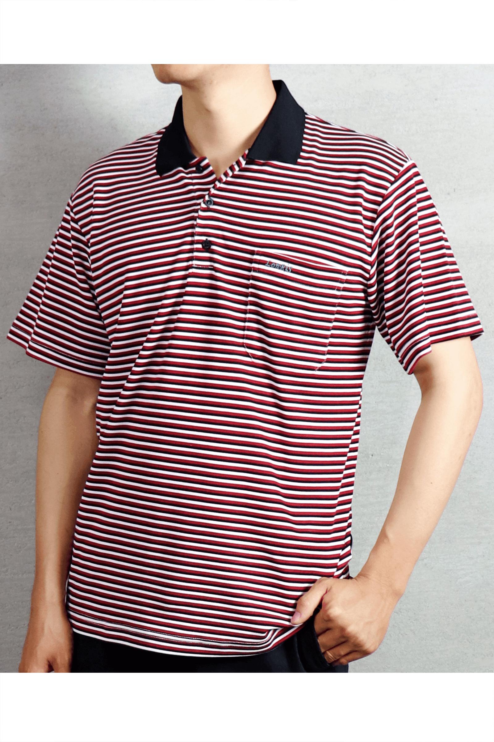 紅黑條紋短袖POLO衫/吸濕排汗 速乾