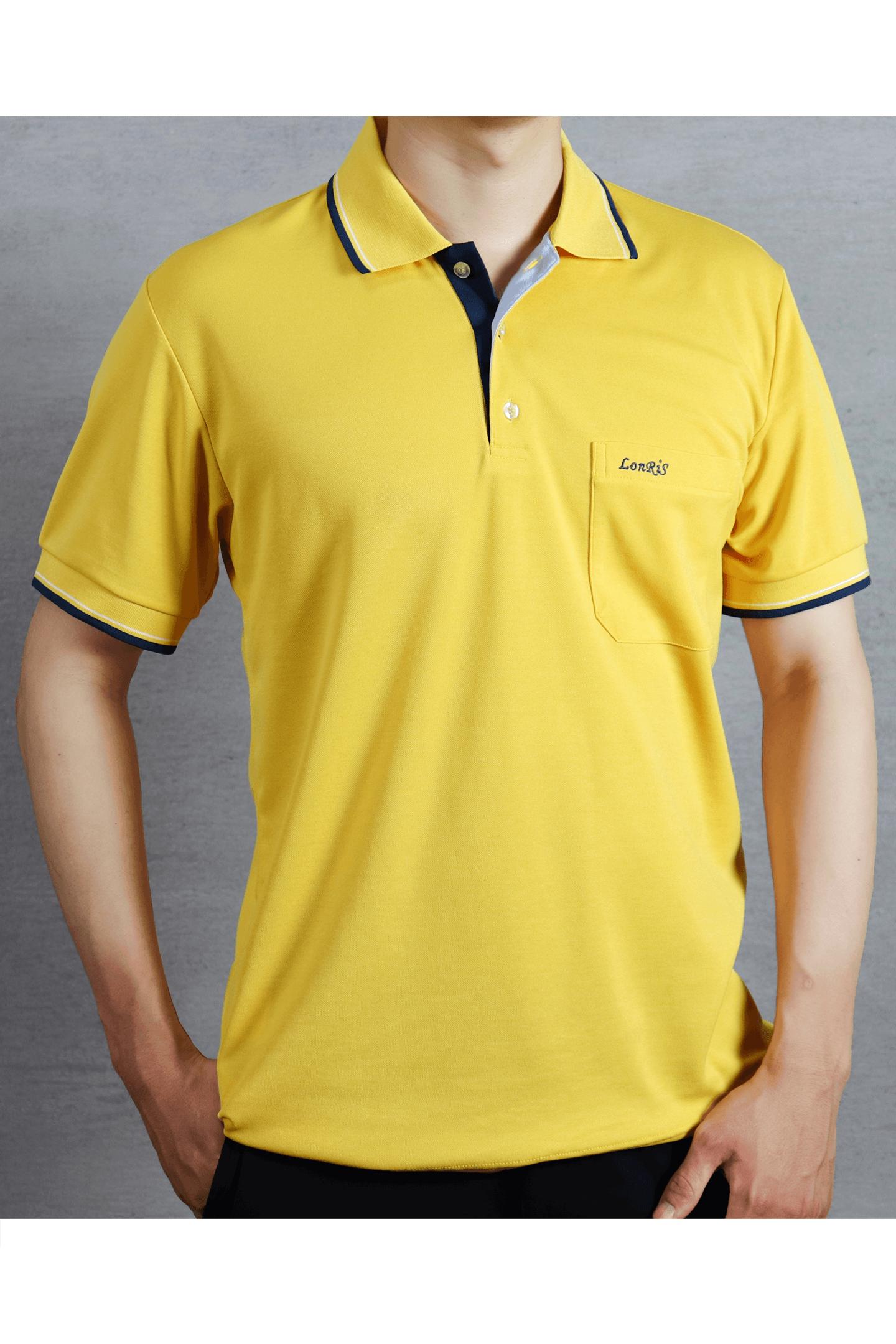 黃底滾邊短袖POLO衫/吸濕排汗 速乾