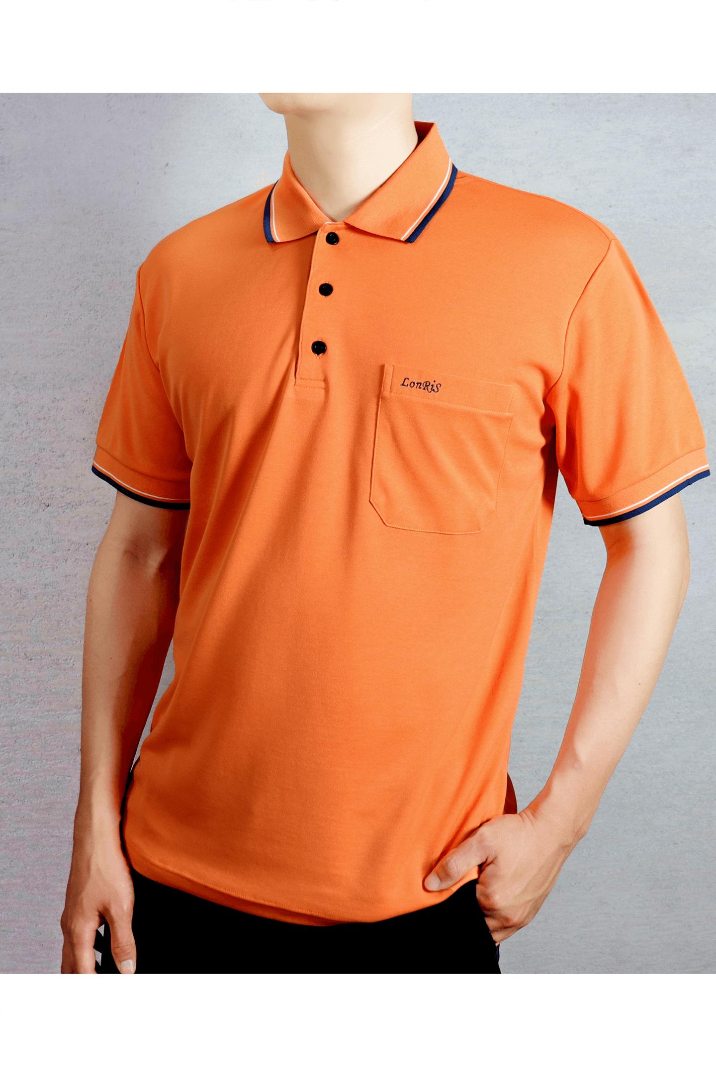 橘底滾邊短袖POLO衫/吸濕排汗 速乾