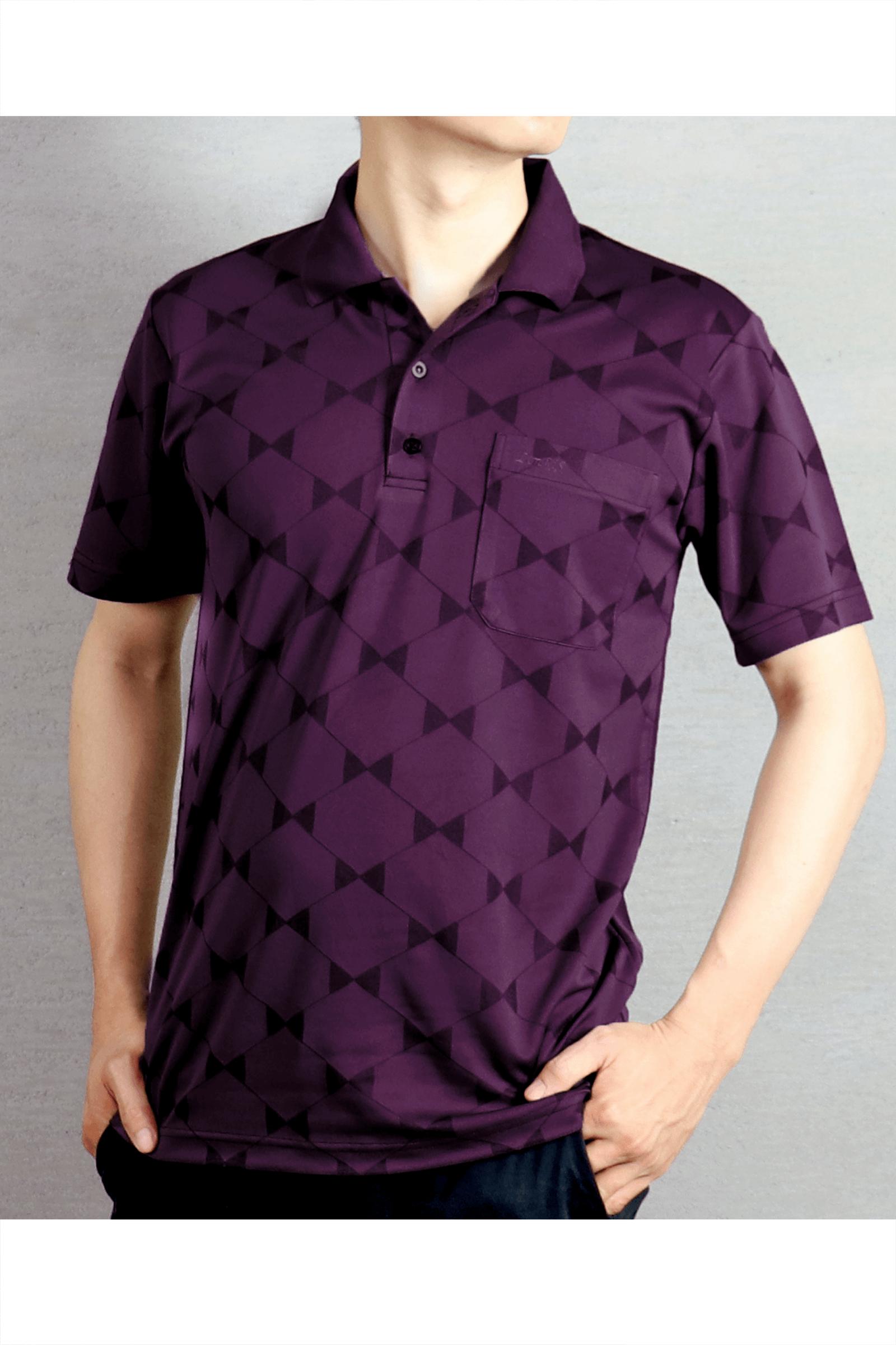 紫菱形格短袖POLO衫/吸濕排汗 抗臭